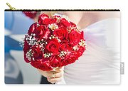 Bride Holding Red Rose Flower Bunch Carry-all Pouch