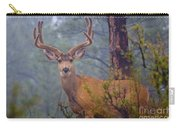 Buck Deer In A Mystical Foggy Forest Scene Carry-all Pouch
