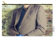 Businessman In Stress With Hands Bound Up Carry-all Pouch