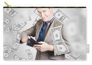 Businessman Under Falling Money. Financial Success Carry-all Pouch