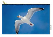Calling Herring Gull Flying In Blue Sky Carry-all Pouch