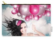 Celebration. Happy Fashion Woman Holding Balloons Carry-all Pouch