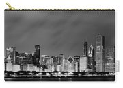 Chicago Skyline At Night In Black And White Carry-all Pouch