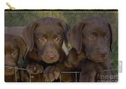 Chocolate Labrador Retriever Pups Carry-all Pouch by Linda Freshwaters Arndt