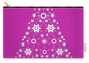 Christmas Tree Made Of Snowflakes On Pink Background Carry-all Pouch