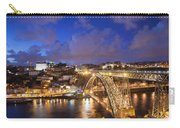City Of Porto In Portugal By Night Carry-all Pouch
