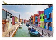 Colorful Houses And Canal On Burano Island Near Venice Italy Carry-all Pouch