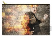 Crazy Businessman Running Engulfed In Fire. Late Carry-all Pouch