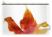 Curled Autumn Leaf Isolated On White Carry-all Pouch