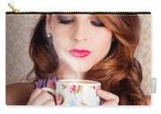 Cute Brunette Woman Drinking Hot Coffee Indoors Carry-all Pouch