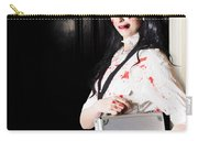 Dead Female Zombie Worker Holding Briefcase Carry-all Pouch