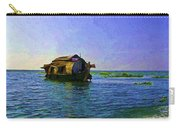 Digital Oil Painting - A Houseboat Moving Placidly Through A Coastal Lagoon In Alleppey Carry-all Pouch