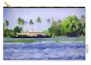 Digital Oil Painting - A Houseboat On Its Quiet Sojourn Through The Backwaters Of Allep Carry-all Pouch