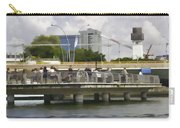 Digital Oil Painting - Visitors On Viewing Plaza On Singapore River Next To The Merlion Carry-all Pouch