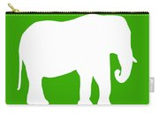 Elephant In Green And White Carry-all Pouch