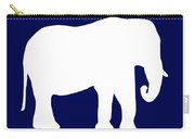 Elephant In Navy And White Carry-all Pouch