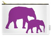 Elephants In Purple And White Carry-all Pouch