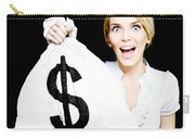 Euphoric Business Woman Holding Unexpected Windfall Carry-all Pouch