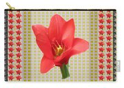 Exotic Red Tulip In Bold And Two Border Patterns Tiny Sparkle Parallal Horizontal Strips Summer Flow Carry-all Pouch