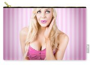 Fantastic Blond Pinup Girl With Surprised Look Carry-all Pouch