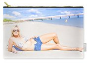 Female Vacationer Relaxing At Tropical Paradise Carry-all Pouch