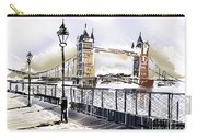 Fine Art Drawing The Tower Bridge In London Uk Carry-all Pouch