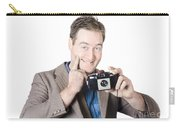 Funny Man Gesturing Big Smile With Vintage Camera Carry-all Pouch