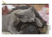 German Shepherd And Chartreux Kitten Carry-all Pouch