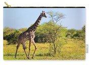 Giraffe On Savanna. Safari In Serengeti Carry-all Pouch