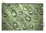 Green Leaf With Raindrops Carry-all Pouch