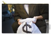 Happy Business Man Smiling With Money Bag Carry-all Pouch