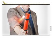 Hostile Male Office Worker Holding Flaming Bomb Carry-all Pouch