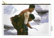 Inuit Boys Ice Fishing Barrow Alaska July 1969 Carry-all Pouch