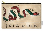 Join Or Die Cartoon 1754 Carry-all Pouch by Benjamin Franklin