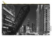 Kinzie Street Railroad Bridge At Night In Black And White Carry-all Pouch