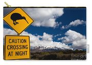 Kiwi Crossing Road Sign And Volcano Ruapehu Nz Carry-all Pouch