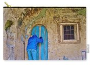 Knocking On A Blue Door Of Tufa Home In Goreme In Cappadocia-turkey  Carry-all Pouch