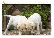 Labrador Puppies Eating Carry-all Pouch