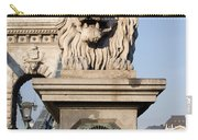 Lion Sculpture On Chain Bridge In Budapest Carry-all Pouch