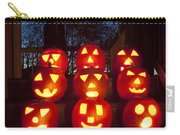 Lit Pumpkins With Demon On Halloween Carry-all Pouch