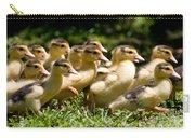 Yellow Muscovy Duck Ducklings Running In Hurry  Carry-all Pouch