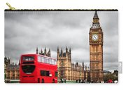 London The Uk Red Bus In Motion And Big Ben Carry-all Pouch