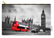 London Uk Red Bus In Motion And Big Ben Carry-all Pouch