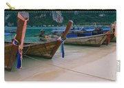 Longtail Boats Moored On The Beach Carry-all Pouch