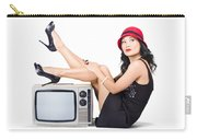 Lovely Asian Pinup Girl Posing On Vintage Tv Set Carry-all Pouch