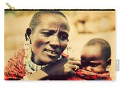 Maasai Baby Carried By His Mother In Tanzania Carry-all Pouch