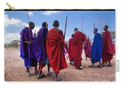 Maasai Men In Their Ritual Dance In Their Village In Tanzania Carry-all Pouch