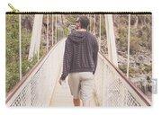 Man On Alexandra Suspension Bridge In Tasmania Carry-all Pouch