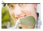 Man With Golf Club Carry-all Pouch