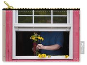 Mature Woman Cutting Flowers In Window Carry-all Pouch